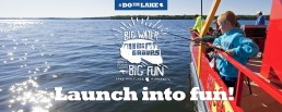 Kids fishing from a Mille Lacs launch